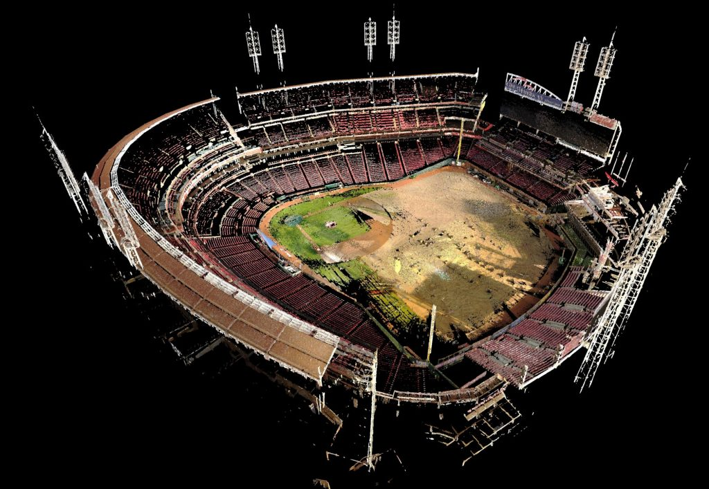 Construction site laser scanning and modeling - Great American Ballpark